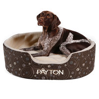 Drs. Foster And Smith Doctors Foster + Smith Personalized Double Support Slumber Nest Chocolate Galaxy Paw Dog Bed, 28