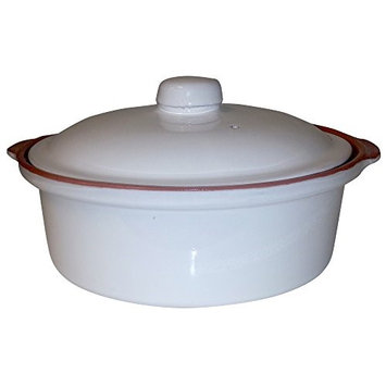 Raphael Rozen Casserole Dish, 10 inch Cooking Tureen, Clay Covered Casserole for Slow Cooking, 2 Quarts 67.6 Oz, White