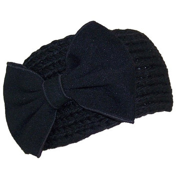 Best Winter Hats Womens Knit Headband W/Large Bow (One Size) - Black