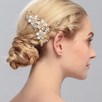 Jewby Vintage Flora Wedding Hair Clips Bridal Barrette Hair Accessories with Rhinestone and Simulated Pearls (G