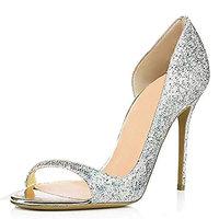 Women PU Exposed Toe Hand Pump Dress Shoes Silver Yellow