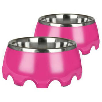 Pet Zone Festiva Bowl, Large (7 Cup), Pink, 2-Pack