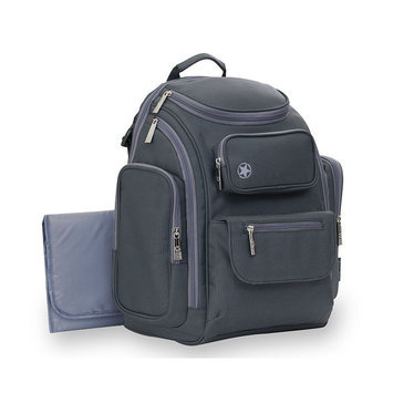 J is for Jeep Perfect Pockets Backpack Diaper Bag, Grey