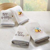 HipStyle 4-pack Buzzin' Bee Embroidered Towel, White