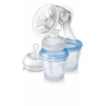 Avent SCF330/12 Comfort Manual Breast Pump with 3 Storage Cups - Made in England