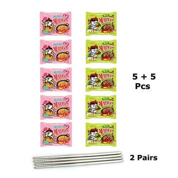 10 pcs(5 Jjajang + 5 Carbo) Samyang Carbo Jjajang Buldak Spicy Black Bean Roasted Chicken Ramen Noodle + 2 pairs of Stainless Chopsticks