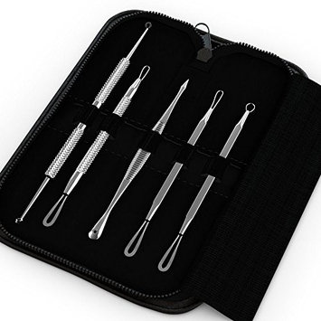 Igia 5-Piece Blemish and Blackhead Extractor Kit with Vegan Leather Zippered Case