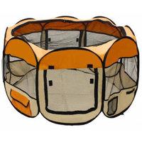 ALEKO DK-61-OR Octagon Pet Playpen Dog Puppy Exercise Kennel Orange Color 57