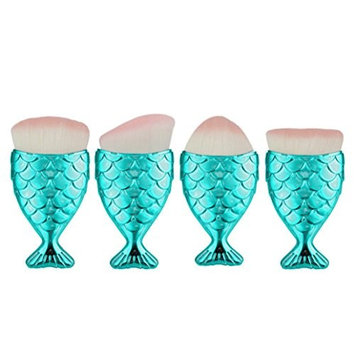 Start 4PC/Set Blue Brush Fish Scale Fishtail Powder Foundation Makeup Cosmetic All Shapes Brush