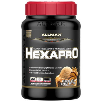 ALLMAX Nutrition, Hexapro, Ultra-Premium Protein + MCT & Coconut Oil, Chocolate Peanut Butter, 3 lbs (1.36 kg) [Flavor : Chocolate Peanut Butter]