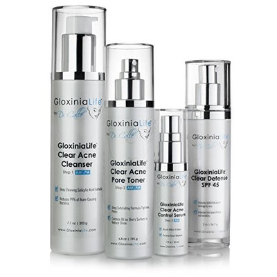 GloxiniaLife Clear Acne MD- step Acne Treatment System (90-Day) - For Adults and Teens- Fast Acting Formula for Facial Blackheads, Blemishes, Pimples and Skin Acne Bacteria, 4 item kit