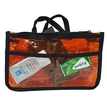 Stylesilove Cosmetic Makeup Bag Badget Insert Purse Organizer - Transparent / Solid (Semi See Though Orange)