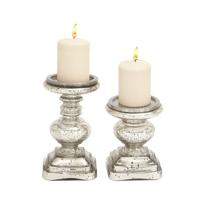 BENZARA 28883 The Traditional Set of 2 Glass Candle Holder