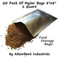 Dry Packs Dry-Packs 20-1-Quart Mylar Bags, 8 by 8-Inch for Dried Dehydrafted