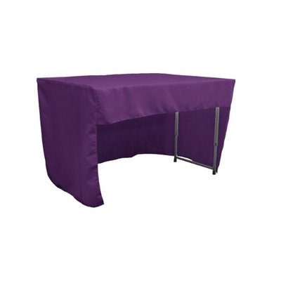 LA Linen TCpop-OB-fit-48x30x30-PurpleP23 1.6 lbs Open Back Polyester Poplin Fitted Tablecloth Purple
