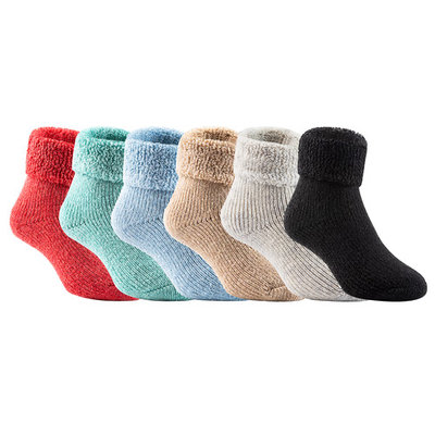 Lian LifeStyle 3 Pairs Father-Mother-Son Extra Thick Wool Boot Socks Crew Plain Random Color LK01+LK02+LK03 (2Y-5Y)