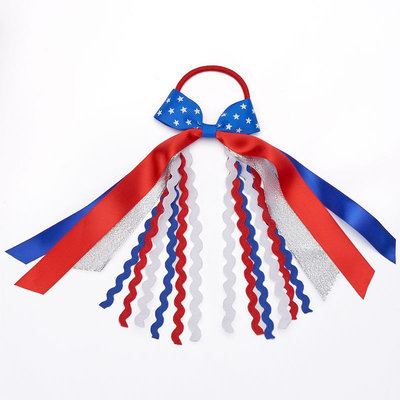 Red, White & Blue Ribbon Hair Tie, Women's, Multicolor
