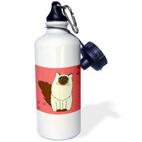 3dRose Himalayan Long-haired / Persian Cat Paw-print, Sports Water Bottle, 21oz