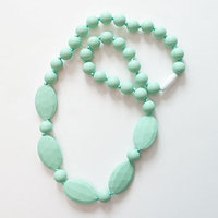 Mint Oval and Round Silicone Teething Necklace for Moms and Teething Nursing Babies BPA Free Chewable Teething Beads 3216