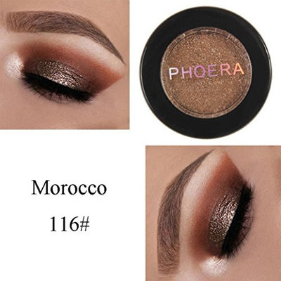 Showking PHOERA Makeup Single Color Glitter Shimmering Colors Eyeshadow Powder Metallic Eye Cosmetic