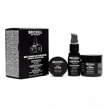 Brickell Men's Advanced Anti-Aging Routine - Night Face Cream, Vitamin C Facial Serum and Eye Cream - Natural & Organic - Scented [Scented]