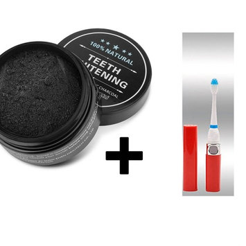 Medex Organic Teeth Whitening Essential Charcoal Activated Bamboo Powder W/ Sonic Travel Tooth Brush (Pack of 2)