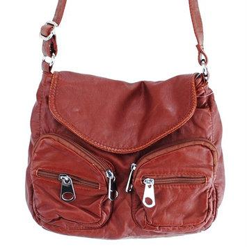 8153 Stone Washed Double Pocket Design Cross Body Bag
