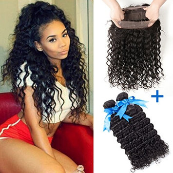 GEFINE Hair Brazilian Deep Wave Wavy 360 Lace Frontal Closure With Bundles Unprocessed Human Hair Weaves With Full Frontal Lace Band Closure...