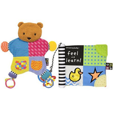 Amazing Baby Blanket Teether Bear with Feel & Learn Book