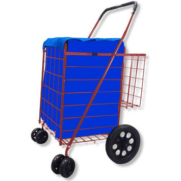 Lavohome Folding Shopping Cart DOUBLE BASKET SWIVEL Wheel Jumbo 360 Easy Rotation (BLUE WITH RED LINER)
