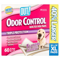OUT! Extra-Large Odor Control Quilted Dog Pads, 60ct