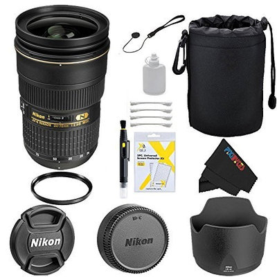 Nikon 24-70mm f/2.8G ED AF-S Wide Angle Zoom Lens + Pixi-Basic Accessory Bundle