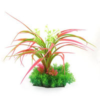 Fish Tank Green Red Plastic Flower Detail Lawn Atificial Water Plant 30cm Height