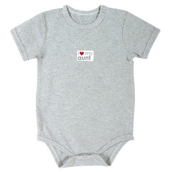 Stephan Baby Gray Stripe Snapshirt-Style Diaper Cover, I Love My Aunt, 0-3 Months