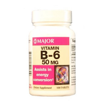 MAJOR B-6 50MG TABS PYRIDOXINE HYDROCHLORIDE-50 MG White 100 TABLETS UPC