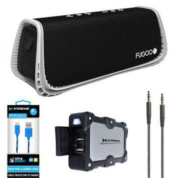 Fugoo Sport XL Port. Waterproof Bluetooth Speaker B & W w/ Power Bank Charger Bundle