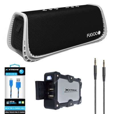 Fugoo Sport XL Port. Waterproof Bluetooth Speaker B & W w/ Power Bank Charger Bundle