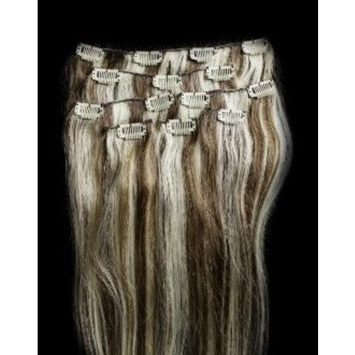 "Hair Faux You 24"" Double Weft 100% Remy Human Hair Clip in Extensions Highlighted Full Head Thick Long Soft Silky Straight 100 Grams 7pcs 14clips #6/613 Medium Chestnut Brown with Platinum Blonde"