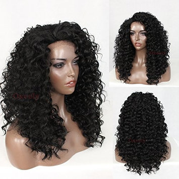 Oxeely Synthetic Lace Front Kinky Curly Hair Wig with Baby Hair Heat Resistant Curly Wig 180 Density 24''