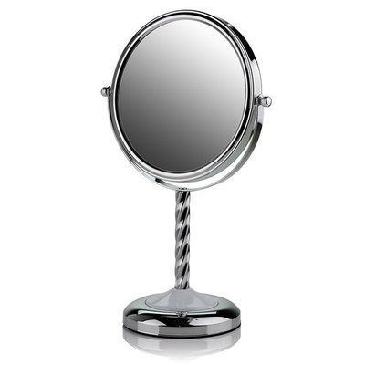 Ovente Round Tabletop Vanity Mirror, 7 Inch, Dual-Sided with 1x/5x magnification, Chrome-Plated Iron, Chrome (MNLBT70CH1X5X)