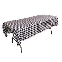 LA Linen TCcheck60x108-NavyK72 Polyester Gingham Checkered Rectangular Tablecloth White & Navy - 60 x 108 in.