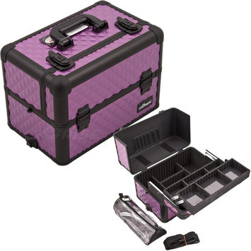 Sunrise Purple Interchangeable Easy Slide & Extendable Tray Diamond Pattern Professional Aluminum Cosmetic Makeup Case With Dividers, Brush Holder And Clear Bag - E3307