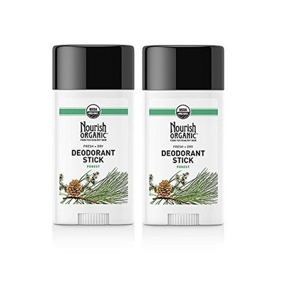 Nourish Organic Forest Fresh and Natural Organic Stick Deodorant With Coconut Oil, Beeswax, Corn Starch, Organic Cocoa Seed Butter, Shea Butter and Organic Fragrance, 2.2 oz. (Pack of 2)
