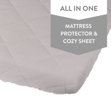 Waterproof Quilted Pack n Play Sheet Mini Crib Sheet All in one Mattress Pad Cover and Sheet, Grey by Ely's & Co