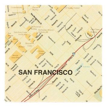 Design Ideas Mapkin, 5x5, Package of 20 Napkins, San Francisco