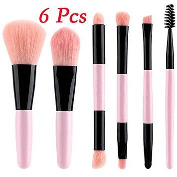 Baomabao 6 Pcs Wooden Handle Double Head Makeup Brush Suit Eye Shadow Brush Makeup Tool