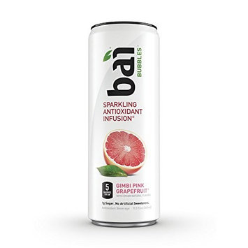 Bai Bubbles, Sparkling Water, Gimbi Pink Grapefruit, Antioxidant Infused Drinks, 11.5 Fluid Ounce Cans, 6 count
