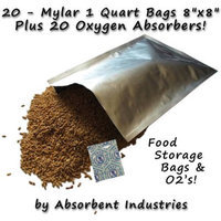 Dry Packs 20 - 1 Quart Mylar Bags & Oxygen Absorbers for Dried Food & Long Term Storage by Dry-Packs!