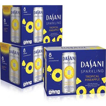 DASANI Sparkling Water Tropical Pineapple Zero Calories, 12 fl oz, 24 Pack [Tropical Pineapple]