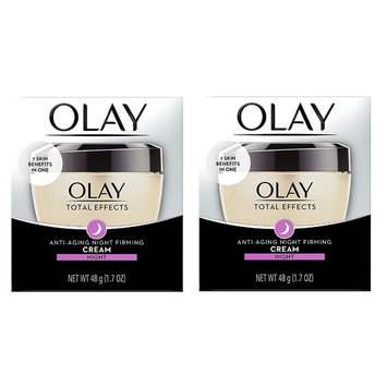 Olay Total Effects Anti-Aging Night Firming Cream, Night, 1.7 Oz (Pack of 2) + FREE Makeup Blender Sponge